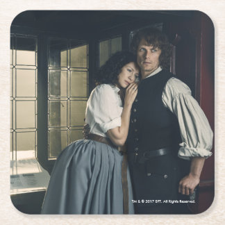 Outlander Season 3 | Jamie and Claire Affection Square Paper Coaster