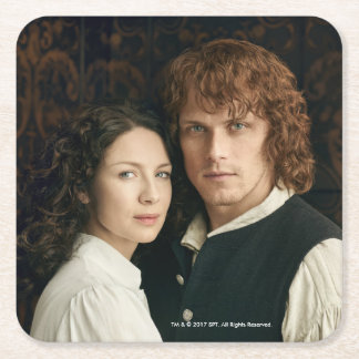 Outlander Season 3 | Jamie and Claire Photograph Square Paper Coaster