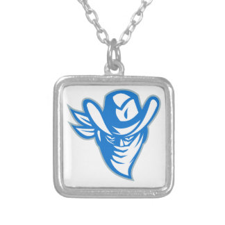 Outlaw Bandit Cowboy Retro Silver Plated Necklace