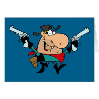 Outlaw Cowboy With 2 Guns Greeting Card