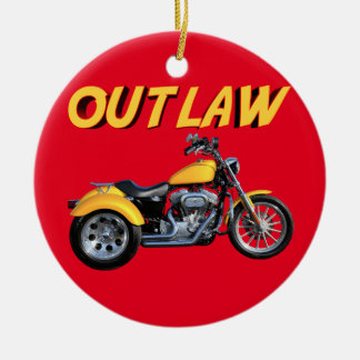 Outlaw Gold Trike Round Ceramic Ornament