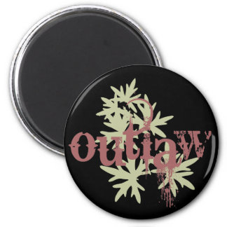 Outlaw & Green Leaf 2 Inch Round Magnet