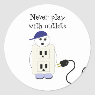 Outlet Receptacle Safety Warning Classic Round Sticker