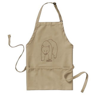 Outline Art Drawing of a Bear, aprons