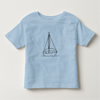 Outline art, drawing of sailboat coloring shirt