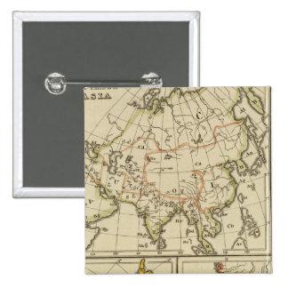 Outline Asia, S America, etc 2 Inch Square Button