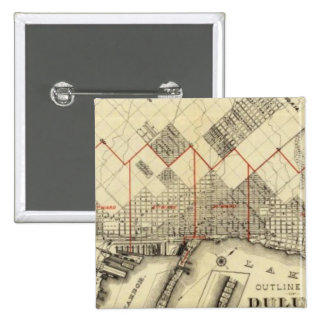 Outline Map of Duluth and Suburbs 2 Inch Square Button