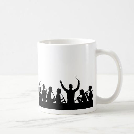 Outline of conductor and band black on white coffee mugs
