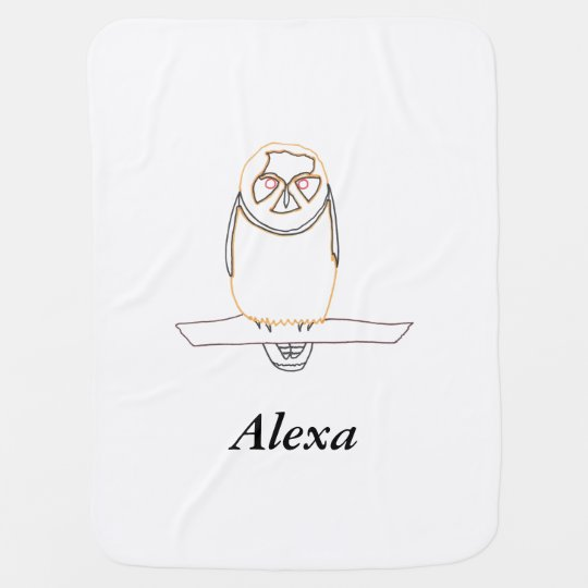 Outline Owl on Branch Personalized Baby Blankets
