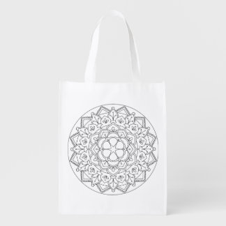 Outlined Floral Mandala  060517_1 Reusable Grocery Bag