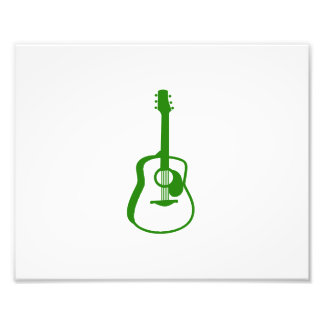 outlined guitar graphic green photo print