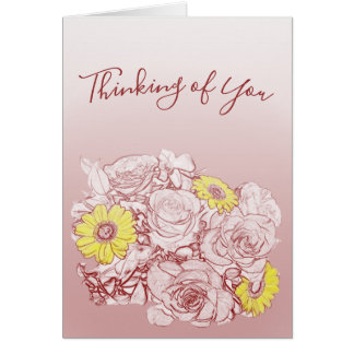 Outlined Roses and Color Splash Daisies Bouquet Card