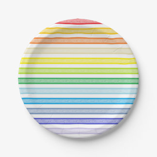 Outlined Stripes Broader Spectrum Rainbow Paper Plate
