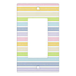 Outlined Stripes Pastel Rainbow Light Switch Cover