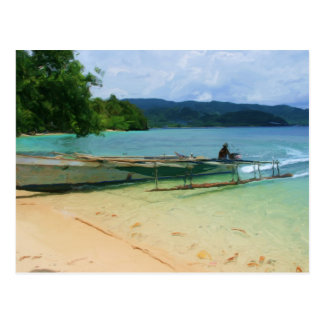 Outrigger Canoe Beaching Postcard