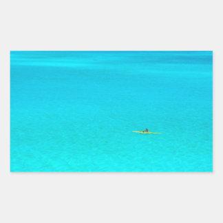 Outrigger canoe in Bora Bora rectangular sticker