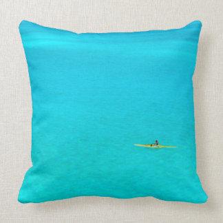 Outrigger canoe in Bora Bora throw pillow