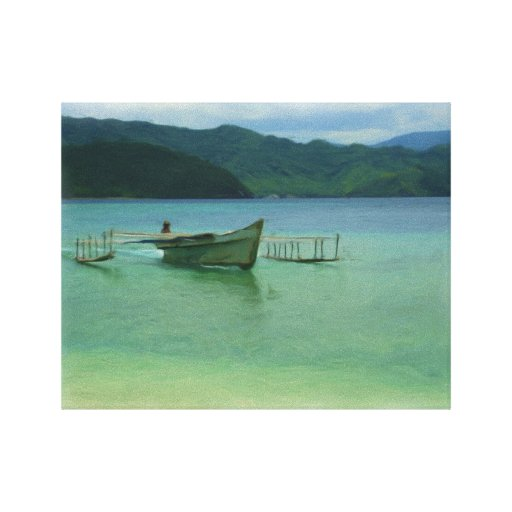 Outrigger Canoe on Tropical Bay Ringed With Mounta Stretched Canvas Prints