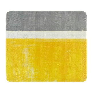 'Outside' Grey and Yellow Abstract Art Cutting Boards