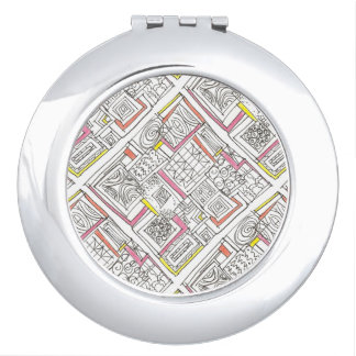 Outside The Box-Abstract Geometric Doodle Compact Mirror