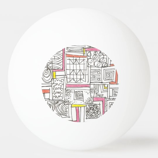 Outside The Box-Abstract Geometric Doodle Ping-Pong Ball