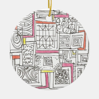 Outside The Box-Abstract Geometric Doodle Round Ceramic Ornament