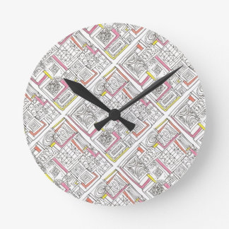 Outside The Box-Abstract Geometric Doodle Round Clock