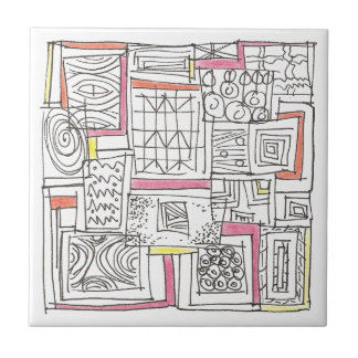Outside The Box-Abstract Geometric Doodle Tile