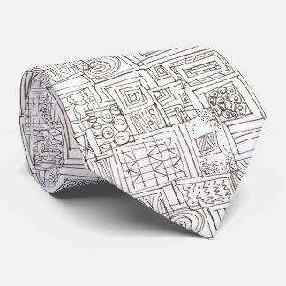 Outside The Box-Black and White Abstract Doodle Tie