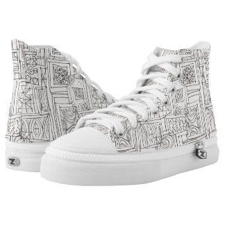 Outside The Box-Black and White Geometric Doodle High Tops
