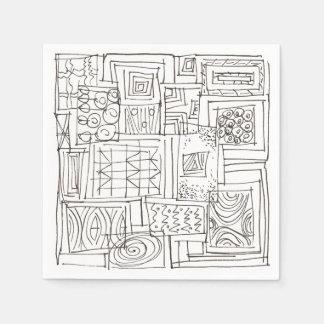 Outside The Box-Black and White Geometric Doodle Paper Napkin