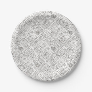 Outside The Box-Black and White Geometric Doodle Paper Plate