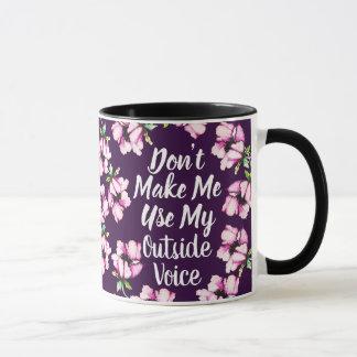 Outside Voice   Watercolor Purple Flowers Mug