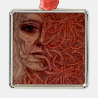 Outsider Art entitled  'For John' Silver-Colored Square Ornament