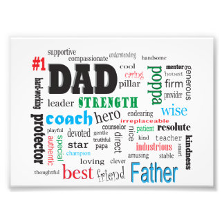 Outstanding Father Best Dad Word Cloud Photo Print