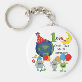 Outta This World 1st Birthday Tshirts and Gifts Basic Round Button Keychain