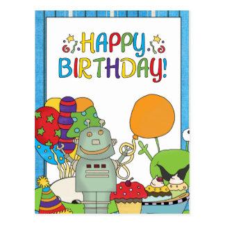 Outta This World Robot Birthday Invites Postcard