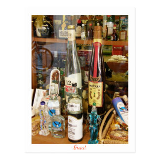 Ouzo and metaxa alcohol postcard