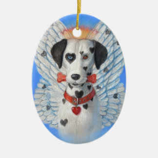 Oval Christmas Ornament Funny Heart Spot Dog Angel