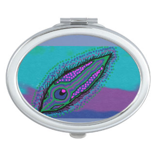 oval compact mirror peacock feather design
