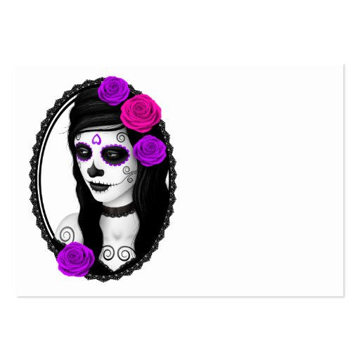 Oval Day of the Dead Girl with Purple Roses Business Card Template