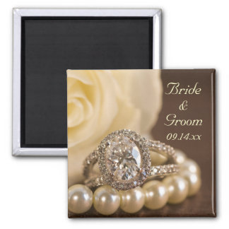 Oval Diamond Ring and White Rose Wedding Square Magnet