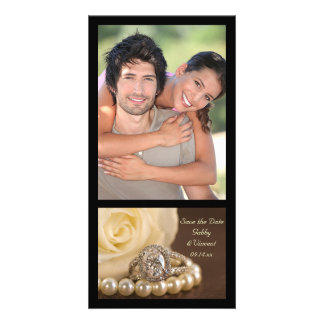 Oval Diamond Ring on Brown Wedding Save the Date Picture Card