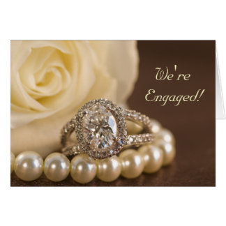 Oval Diamond Ring Rose Engagement Party Invitation