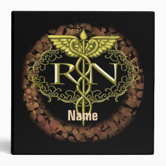 Oval Gold Caduceus RN Nurse black binder