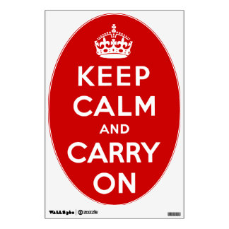 Oval Keep Calm and Carry On Red Wall Decal