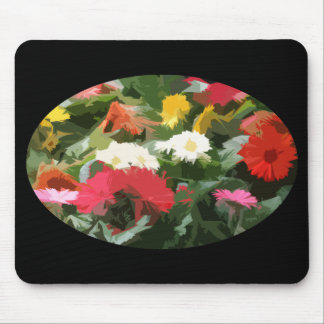 Oval of Colorful Aster Flowers Abstract Art Mouse Pad