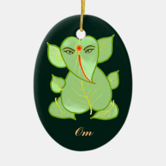 Oval Om Green Leaves Ganpati Ornament