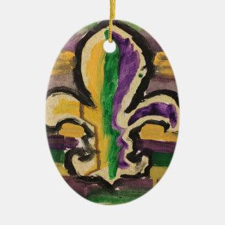 Oval ornament with Mardi Gras Fleur-de-lis