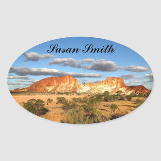 Oval photo sticker with name - desert background